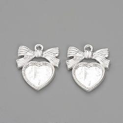 paramètres pendant d'alliage de cabochon de style tibétain, bowknot avec le coeur, plaqué argent, plateau: 11x12 mm; 23x19x2 mm, trou: 2 mm(X-TIBE-Q073-75S)