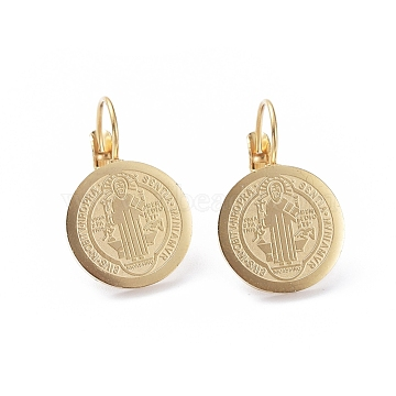 Religion Theme 304 Stainless Steel Leverback Earrings, Hypoallergenic Earrings, Flat Round with Jesus, Golden, 24mm, Pin: 0.7(EJEW-I239-07G)