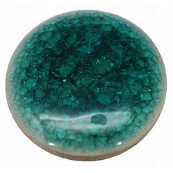 Плоские круглые ручной работы хрустят фарфоровые кабошоны, зелено-синие, 20x4 мм(X-PORC-P001-8)