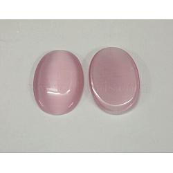 Стеклянный Кошка глаз кабошоны, жемчужно-розовые, овальные / рис, шириной около 18 мм, 25 мм длиной, толщиной 3~4 мм (CE063-18X25-22)