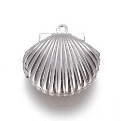 Pendentifs de médaillon en acier inoxydable, breloques cadre de photo pour colliers, coquille, couleur inoxydable, 23.5x22x9mm, trou: 1.6 mm; diamètre intérieur: 13.5x15 mm(STAS-L207-16P)