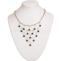 Perles de verre colliers de déclaration bavoir, avec des anneaux en laiton, Chaînes de câble en fer et pinces à homard en laiton, darkblue, 375mm(NJEW-JN00850)