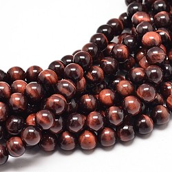 Natural Red Tiger Eye Round Bead Strands, Dyed & Heated, 6mm, Hole: 1mm; about 62pcs/strand, 15inches