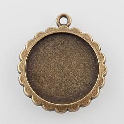 Supports de pendentif de cabochon plat rond en alliage, sans nickel, bronze antique, plateau: 20 mm; 29x25x2 mm, Trou: 2mm(X-PALLOY-N0088-48AB-NF)