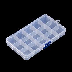 Conteneurs de stockage de perles en plastique, 15 amovibles compartiments, rectangle, clair, 19x10.2x2.2 cm(X-CON-Q026-02A)