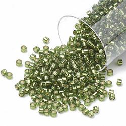 Miyuki® delica beads, perles de rocaille japonais, 11 / 0, (db 1207) olive argenté, 1x1.5 mm, trou: 0.5 mm; sur 2000 pcs / bouteille(SEED-S015-DB-1207)