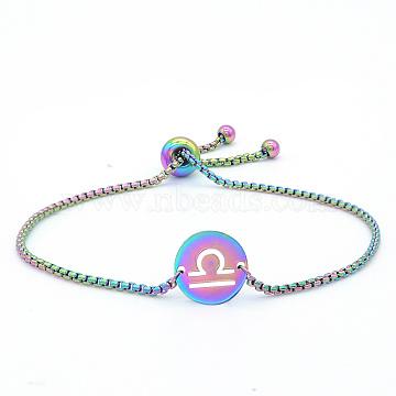 """Bracelets réglables en 201 acier inoxydable, bracelets bolo, avec des chaînes de boîte, plat rond avec constellation / signe du zodiaque, libra, 9-1/2"""" (24 cm)(STAS-S105-JN664-7)"""