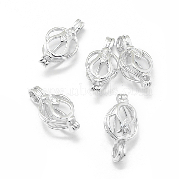 925 Sterling Silver Cage Pendants, with Cubic Zirconia, Clear, Platinum, 22x11.5x9.5mm, Hole: 4x3mm; Inner Diameter: 9.5mm(STER-L055-038P)