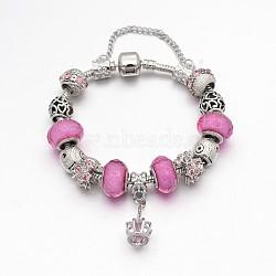 Alliage de couronne strass émail européens bracelets de perles, avec résine perles européennes, chaînes en laiton et en alliage fermoirs, rose, 180mm(BJEW-I182-02C)