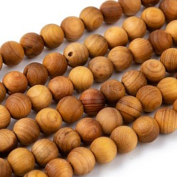 Natural Wood Beads Strand, Round, 6mm, Hole: 1mm; about 66pcs/strand, 15.5 inches(39.5cm)(X-WOOD-F006-01-6mm)