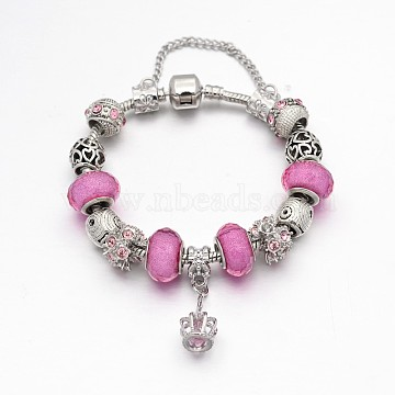 Crown Alloy Rhinestone Enamel European Beaded Bracelets, with Resin European Beads, Brass Chains and Alloy Clasps, Pink, 180mm(BJEW-I182-02C)