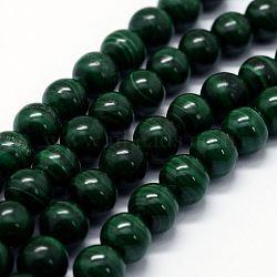 """Chapelets de perles en malachite naturelle, rond, 7~8mm, trou: 1mm; environ 52 pcs/chapelet, 15.7"""" (40 cm)(G-E484-02)"""