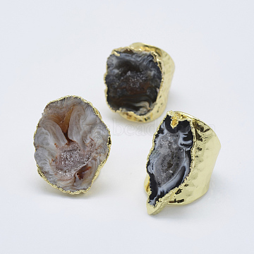 Adjustable Natural Druzy Agate Cuff Finger Rings, Wide Band Rings, with Golden Tone Brass Findings, Size 7, Size 7~9, 17~19mm(RJEW-L079-K01)
