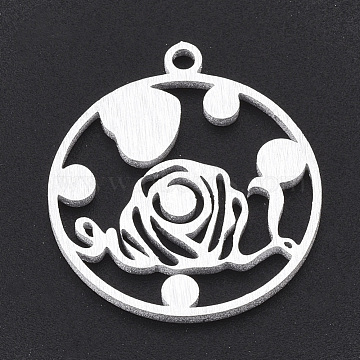 Aluminium Pendants, Laser Cut Pendants, Flat Round with Heart and Flower, Silver Color Plated, 24x22x1mm, Hole: 2mm(ALUM-T001-113S)