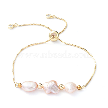 Adjustable Brass Slider Bracelets, Bolo Bracelets, with Natural Pearl Beads, Cubic Zirconia and Brass Beads, Golden, 10-5/8 inch(27cm)(BJEW-JB05151)