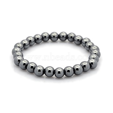 Non-magnetic Hematite Beaded Ball Stretch Bracelets for Valentine's Day Gift, 68mm(BJEW-M066-B-02)