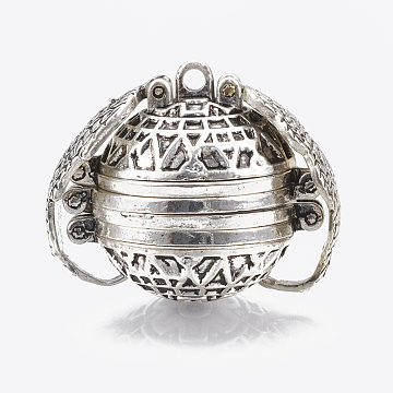 Alloy Prayer Box Pendants, Round with Wing, Antique Silver, 23~24x28~29x20mm, Hole: 2mm; Inner Measure: 18mm(PALLOY-T062-01D)
