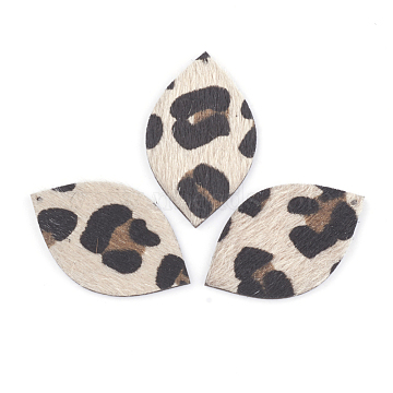 PU Leather Pendants, with Faux Horsehair Fabric, Horse Eye, Antique White, 43x26x3mm, Hole: 1.5mm(FIND-T020-050)