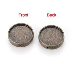 Tibetan Style Alloy Bead Cabochon Settings, Cadmium Free & Lead Free & Nickel Free, Flat Round, Antique Bronze, Tray: 18mm; 20.5x5mm, Hole: 1mm(X-TIBE-Q070-28AB-NR)