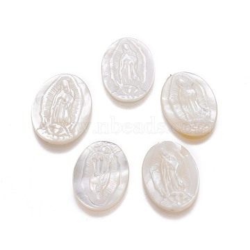 Natural White Shell Mother of Pearl Shell Cabochons, Oval with Virgin Mary, 18.5~20x13.5x2~2.5mm(BSHE-F007-02-B)