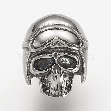 304 Stainless Steel Clasp Rhinestone Settings, Skull, Antique Silver, 25x9x21mm, Hole: 6x11mm; Fit for 6x3mm rhinestone(STAS-P169-63AS)