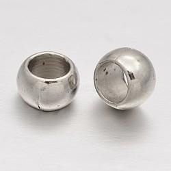 Perles européennes en plastique CCB, perles de rondelle avec grand trou , platine, 6x4mm, Trou: 4mm(CCB-J028-68P)