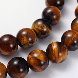Gemstone Beads Strands, Grade AB+ Tiger Eye, Round, about 8mm in diameter, hole: about 1mm, 15~16inches