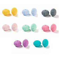 Food Grade Eco-Friendly Silicone Beads, Chewing Beads For Teethers, DIY Nursing Necklaces Making, Rondelle, Mixed Color, 18x13.5mm, Hole: 1.5mm(X-SIL-Q015-M)