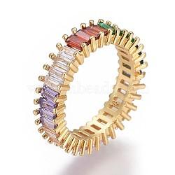 Bagues en laiton zircone cubique micro pavé, colorées, or, taille 9, 18.9mm(RJEW-F090-06G-19mm)