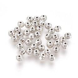 Perles de style tibétain, sans plomb et sans cadmium, rond, couleur argent antique, environ 4 mm de diamètre, trou: 1 mm; environ 126 pcs / 20 g(Y-LF0263Y)