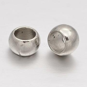CCB Plastic European Beads, Large Hole Rondelle Beads, Platinum, 6x4mm, Hole: 4mm(CCB-J028-68P)