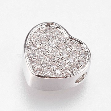Brass Micro Pave Cubic Zirconia Beads, Heart, Clear, Platinum, 9x9.5x4mm, Hole: 1.5mm(KK-I614-055P)
