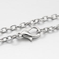 "Fer chaîne du câble étoffe collier, avec alliage homard fermoirs pince, platine, 29.1""(MAK-J009-38P)"