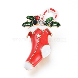 Golden Plated Alloy Brooches, with Rhinestone and Enamel, Christmas Stocking, for Christmas, Colorful, 46.5x26.5x12.5mm, Pin: 0.8mm