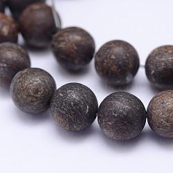 Brins de bronzite natrual, givré, arrondir, 12 mm, trou: 1 mm; environ 32 perle / brin, 15.5(G-D745-12mm)