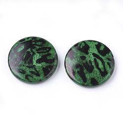 Perles acryliques imprimées, plat rond, verte, 25x5.5mm, trou: 1.8 mm; environ 215 pcs / 500 g(OACR-S022-14C)