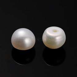 Natural Cultured Freshwater Pearl Beads, Half Drilled, Rondelle Antique White, 5~5.5x4mm, Hole: 0.7mm(PEAR-E001-15)