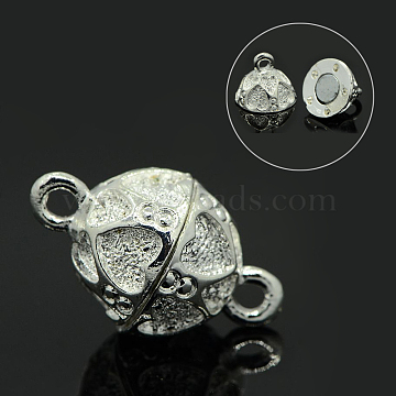 Shining Alloy Magnetic Clasps, Oval with Heart, Silver Color Plated, 21x12mm, Hole: 1mm(X-PALLOY-D288-S)