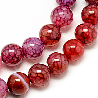 Natural Dragon Veins Agate Beads Strands, Dyed, Round, Crimson, 8mm, Hole: 1mm; about 48pcs/strand, 14.96 inches