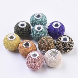 Perles Indonésiennes manuelles, avec les accessoires en métal, rond, argenterie, couleur mixte, 15~16x14~15mm, Trou: 3mm(IPDL-E009-C)