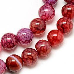 Chapelets de perles veines de dragon en agate naturelle, teint, rond, cramoisi, 8mm, trou: 1mm; environ 48 pcs/chapelet, 14.96