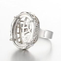 Laiton réglable composants de support de l'anneau en filigrane, avec les supports cabochon de lunette ovale, platine, plateau: 13x18 mm; 18 mm(MAK-J007-51P)