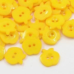 """Акриловые кнопки """"яблоко"""", 2-луночное, окрашенные, золотые, 13x13x2 мм, отверстие : 1 мм(X-BUTT-E037-B-07)"""