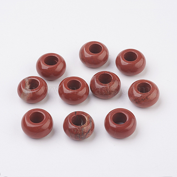 Natural Red Jasper European Beads, Large Hole Beads, Rondelle, 14x8mm, Hole: 6mm(G-G740-14x8mm-04)