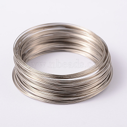 Memory Wire, Steel, Platinum Color, 65mm; about 100circles/set