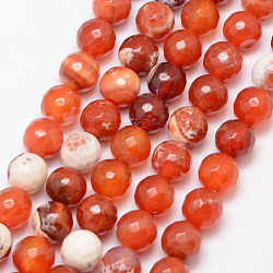 Natural Fire Agate Bead Strands, Round, Grade A, Faceted, Dyed & Heated, Coral, 10mm, Hole: 1mm; about 37pcs/strand, 15inches