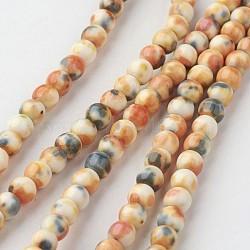"Chapelets de perle en jade blanc naturel, rond, teint, burlywood, 4mm, trou: 1mm; environ 104 pcs/chapelet, 15.7"" (400 mm).(G-G916-4mm-12)"