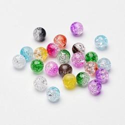 Perles acryliques craquelées transparentes à deux tons, moitié peint à la bombe, rond, couleur mixte, 8mm, Trou: 2mm(X-CACR-R009-8mm-M)
