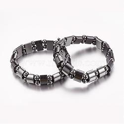 Valentine jour cadeaux pour mari bracelet extensible hématite synthétique magnétique, longueur d'environ 53 mm , la Perle: 6 mm, le rectangle perle: 13 mm(IMB005)