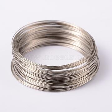 Fil à mémoire, acier, couleur platine, 65mm; environ 100circles / set(X-TWIR-H022-P)